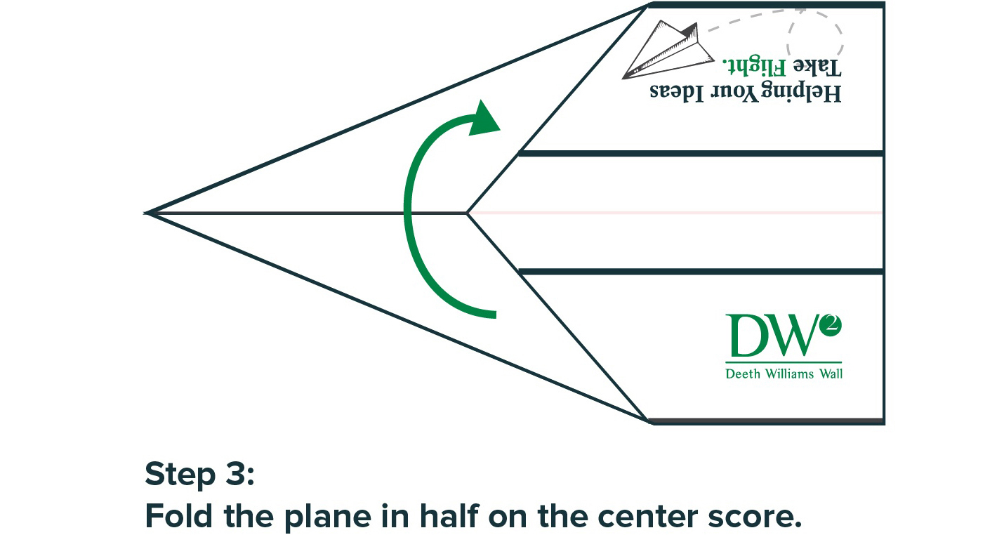 Step 3: Fold the plane in half on the center score.